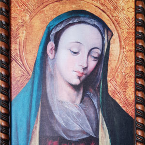 Obraz Matki Bożej Cierpliwie Słuchającej – oleodruk na płótnie, rama drewniana