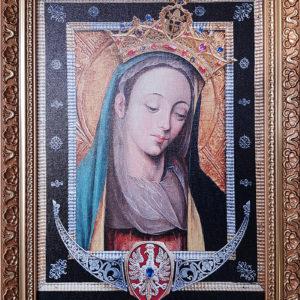 Obraz Matki Bożej Cierpliwie Słuchającej – oleodruk na płótnie, rama złocona